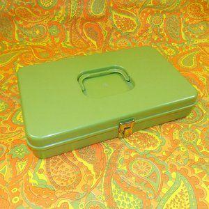 Vintage Sewing Box Avocado Green 70s Retro Storage